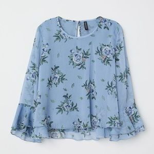 Blue Blouse With Chiffon